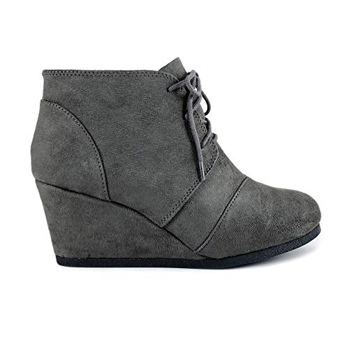 Rex Lace up Oxford Ankle Bootie Round Toe High Hidden Wedge