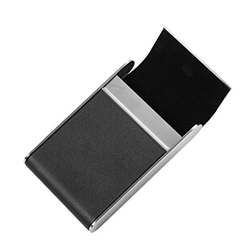 Hinged Flash Attachment (YJYdada Black Pocket Leather Tobacco Cigarette Card Holder Storage Case Box Container (A))