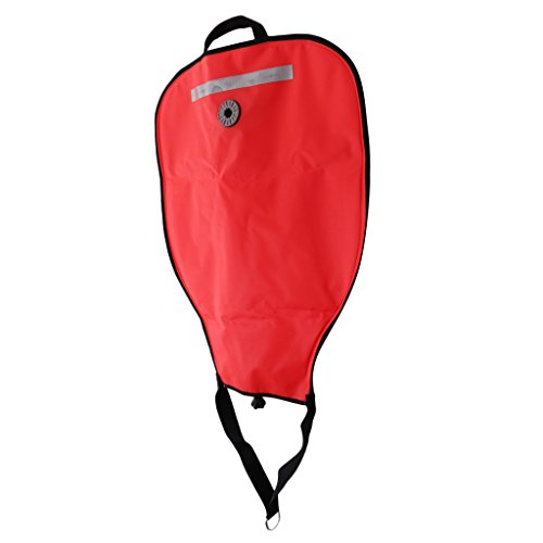(MagiDeal Deluxe Nylon 50lbs Salvage Lift Bag with Dump Valve Scuba Diving Accessories - Red)