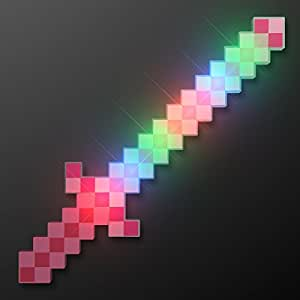 Pink Glowing LED 8-Bit Light Up Pixel Sword (Set of 12)