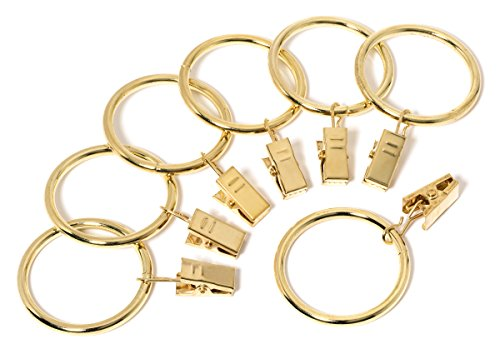 Iron Metal Curtain Clip Rings 1 1/2 Inch Interior Diameter (20, Gold)