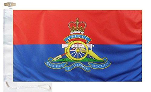 British Army Royal Artillery (Royal Regiment of Artillery) Courtesy Boat Flag - 2 Yard - 6'x3' (180cm x 90cm) - Rope and Toggle (Royal Artillery Badge)