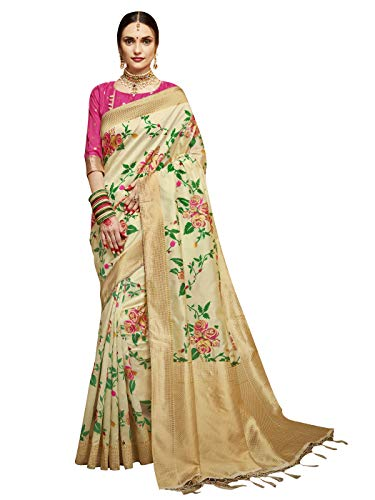 Sarees for Women Banarasi Art Silk Woven Saree l Indian Ethnic Wedding Gift Sari with Unstitched Blouse Cream