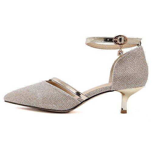 Aardardom Da Donna Fibbia A Punta Morbida Materiale Assortito Colore Scarpe-scarpe Oro