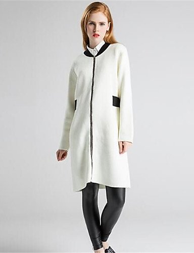Micro Thick Solid Cardigan White Fall elastic Simple Sleeves Long Print Women's Daily Xuanku Neck Polyester Round Winter Long Wool Casual Cotton XTZRYU