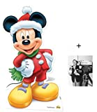 Fan Pack - Mickey Mouse Santa Claus Lifesize Cardboard Cutout / Standee - Includes 8x10 (25x20cm) Star Photo