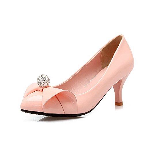 Damen PU Ziehen auf Spitz Zehe Niedriger Absatz Rein Pumps Schuhe, Pink, 40 AgooLar