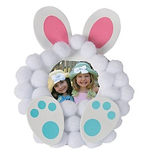 12 - Pom-Pom Bunny Picture Frame Magnet Craft Kits (Easter Bunny Crafts)