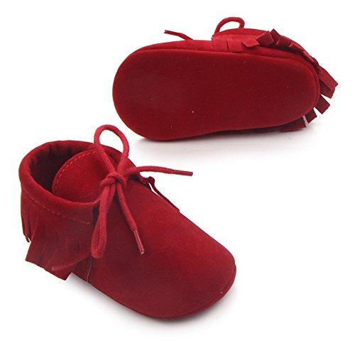 Etrack-OnlineMoccasins - botas sin cordones para niño Red