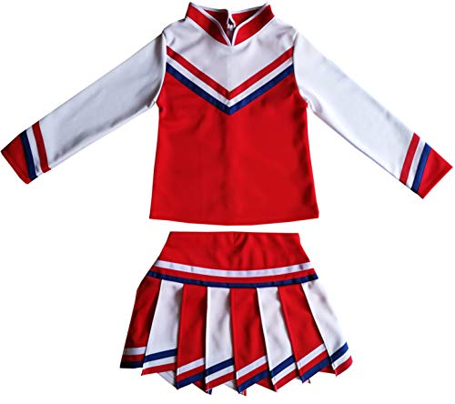 Usc Halloween Costumes (Kids/Girls' Children Minis Sport Cheerleader Cheerleading Long Sleeves Costume Uniform Outfit Dress Red/White (S /)