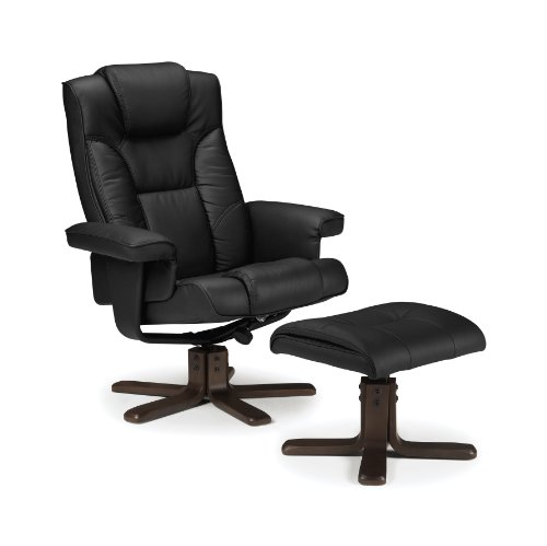 Julian Bowen Malmo Recliner and Footstool, Easy Care Faux Leather - Black