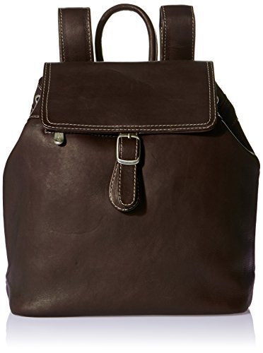 Piel Leather Top Flap Drawstring Backpack, Chocolate, One Size