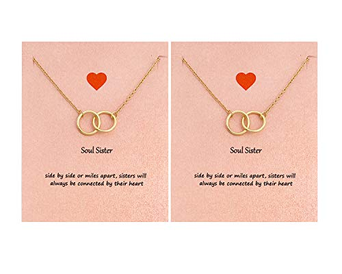Your Always Charm Soul Sisters Necklace,Best Friend Necklaces for 2 Interlocking Circles Necklace Sister Gifts (2 Gold)