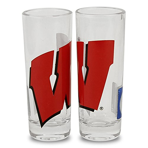 (Boelter NCAA Color Team Logo 2oz Cordial Shot Glass 2-Pack (Wisconsin Badgers))