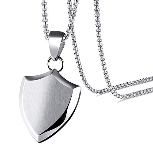 Xusamss Fashion Titanium Steel Triangle Shield Tag Pendant Necklace with 24 Inch Chain