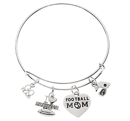 Infinity Collection Football Mom Jewelry-Football Mom Bracelet- Football Bangle - Perfect Gift for Football Moms ()