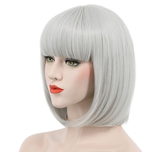 Karlery Women Short Straight Bob Fasion Wig Flat Bangs Cosplay Party Wig Costume Halloween Wig (Gray)