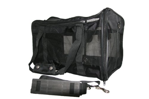Airline Compliant Pet Carrier for Small Dogs Cats- Comfortable Mesh Ventilation- Best Carry on Bag for Car/Air Travel- Airport Dog Carriers for Southwest/Jetblue/ American Airlines More (Black)
