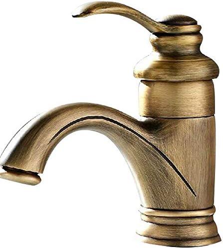 洗面器の蛇口ヴィンテージアンティークブロンズ浴室ハンドルシングルハンドルシンク蛇口真鍮ホットとコールドトイレの蛇口起毛表面処理