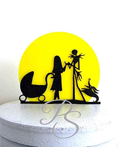Wedding Cake Topper, Baby Shower Cake TopperThe Nightmare Before Christmas Jack and Sally silhouette with a yellow moon]()