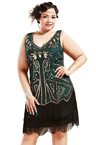 (BABEYOND Women's Plus Size Flapper Dresses 1920s V Neck Beaded Fringed Great Gatsby Dress (Gold & Dark Green, 2X Plus)