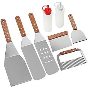 Romanticist 8Pcs Accessori per Grill Kit Attrezzi per Barbecue - Set di Spatole per Uso Professionale in Ccciaio Inox… 18 spesavip