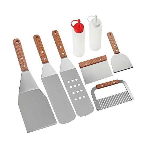 Romanticist 8Pcs Accessori per Grill Kit Attrezzi per Barbecue - Set di Spatole per Uso Professionale in Ccciaio Inox… 1 spesavip