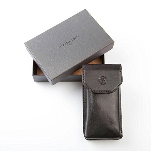 Maxwell Scott® Luxury Italian Men's Leather Glasses Case (Gabbro), Black