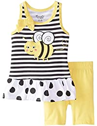 Girls Bumblebee Outfit Striped Top & Yellow Shorts 2 Piece Set
