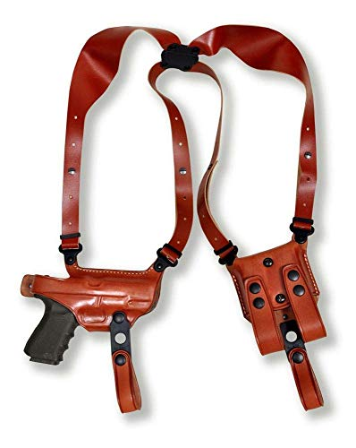 Premium Leather Horizontal Shoulder Holster System with Double Magazine Carrier for Sig P320 XCarry 9mm 3.9''BBL, Right Hand Draw, Brown Color #1394#