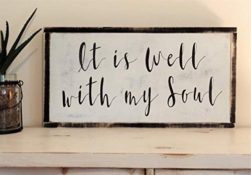 It is well with my soul Sign Wooden Hymn Lyrics Distressed Wall Art Fixer Upper Inspired Farmhouse Decor Painted Wood Sign 37