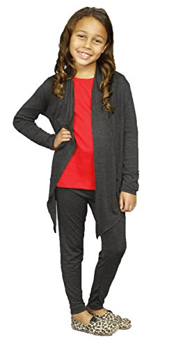 Monag Girl's Cardigan with Legging Medium Charcoal (Long Girls Cardigan)