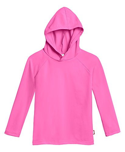 City Threads Big Boys' and Girls' Hooded Long Sleeve Rashguard for Sun Protection Beach Pool Swimming Tee, Medium Pink, 10 -
