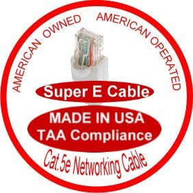SuperEcable Ethernet Network Patch Cable USA-0678-28 Ft UTP Cat5e UL 24Awg Pure Copper Made in USA White
