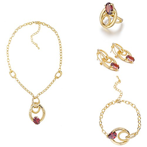 4 Pieces Stylish Luxury Jewellery, The L'Amour Love Set 14K Gold Setting with Solid Czech Gems and Swarovski Elements Crystals. French Parisian Style Fashion Necklace, Earrings, Bracelet and Ring Set. Contemporary Modern Style. Great Value; Gift Idea for Christmas or Anniversary or Bridal Wedding. Gift Boxed Ready. In Clear Diamond or Red Ruby
