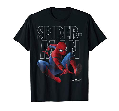 Marvel Spider-Man Homecoming Outlined Epic Jump Pose T-Shirt]()