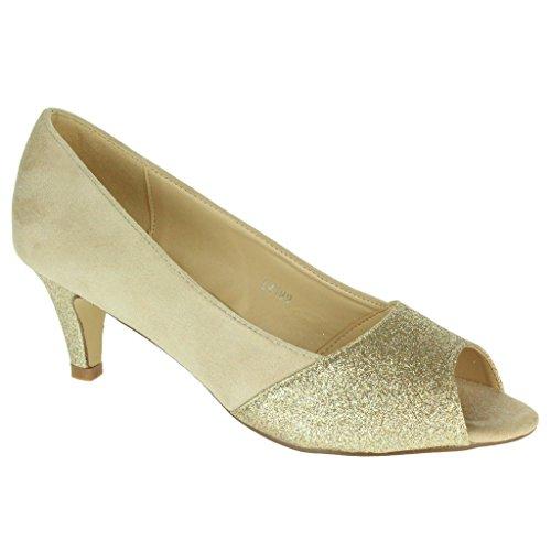 Mujer Señoras Casual Sparkly Peep Toe Tacón de gatito Noche Boda Fiesta Formal Noche fuera Nupcial Sandalias Zapatos Talla Beige