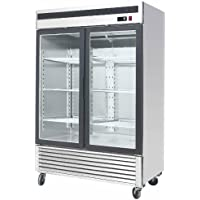 54.4 2 Door Upright Glass Window Reach In Refrigerator Merchandiser Display Case, MCF-8707, 47.1 Cu. Ft., Stainless Steel