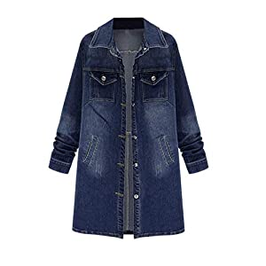 Rambling New Women Long Denim Jacket Casual Plus Size Denim Coat Outwear