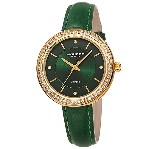 Akribos XXIV Women's Leather Watch - 4 Genuine Diamond Markers, CZ Crystal Studded Bezel, Sunray Dial - Green Strap, Gold Tone Case - AK1067GN (Green Dial Sunray)