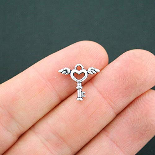 (15 Key Charms Antique Silver Tone Winged Heart Key 2 Sided - SC5052)