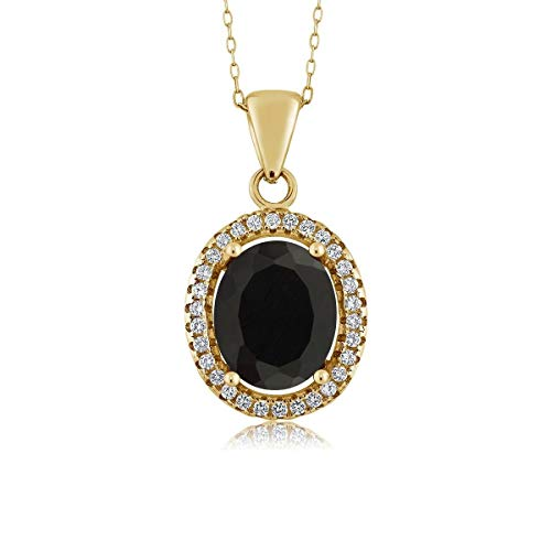 Gem Stone King Black Onyx 18K Yellow Gold Plated Silver Pendant necklace 3.40 Ct Oval with 18 Inch Chain