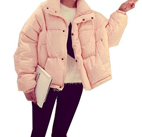 EKU Women's Solid Short Thicken Slim Fashion Outwear Down Jacket XL Pink