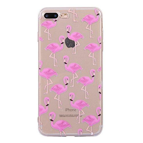 Funda iPhone 8 Plus,EUDTH Suave TPU Gel Funda Case Delgado Silicona Fundas Carcasa Espalda para iPhone 7 Plus / iPhone 8 Plus (5.5 Pulgadas) Paisaje Flamencos