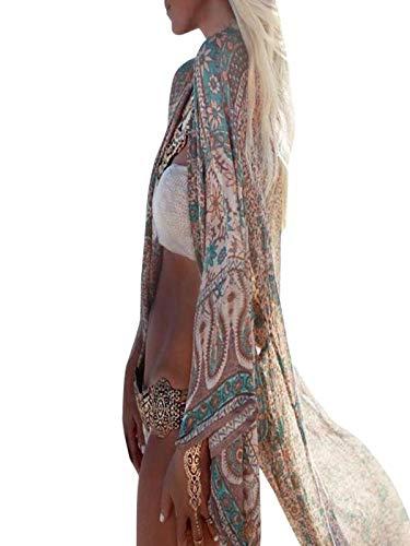 JiaMeng Mujer Largas Abrigo de Plumas C¨rdigan Estampado Floral Gasa Chal Kimono Cardigan Top