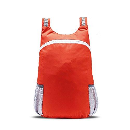 LWJgsa De Viaje Bolsa De Hombro Hombres Y Mujeres Luz Sport Bag Bolso Plegable Portátil Mochila Montañismo Al Aire Libre Verde Fluorescente Tangerine