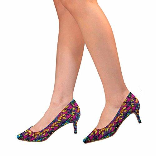 Tallone Basso Gattino Micio Scarpe Scarpe Col Tacco Alto Stile Anni 80 Hippie Modello Psichedelico Multi Arte 1