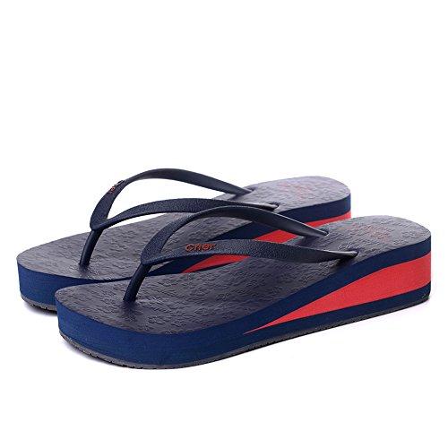 Slippers HAIZHEN Women shoes Ladies summer fashion Non-slip Ladies summer fashion Non-slip Black Green Pink Purple Dark blue Light blue for Women (Color : Pink, Size : EU37/UK4-4.5/CN37) Dark Blue