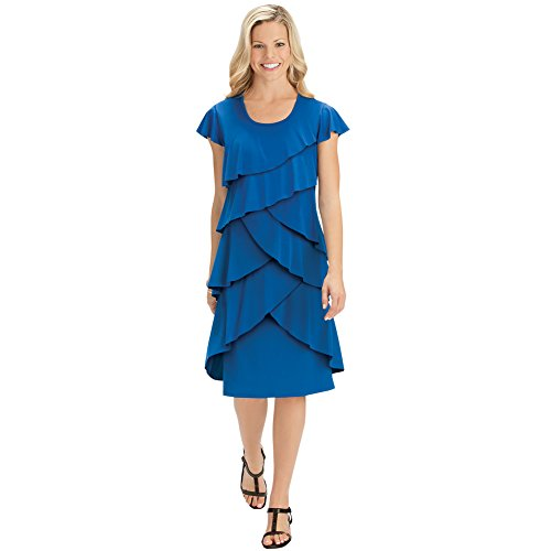 Ruffle Front Cap (Collections Etc Women's Tiered Ruffle Front Cap Sleeve Knee Length Knit Dress, Royal Blue, X-Large)