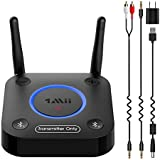 1Mii 2020 Expert Bluetooth Transmitter ONLY for TV to Wireless Headphone/Speaker/Home Stereo, Easy Bluetooth Adapter for TV AUX/RCA/Optical Audio Output, Plug n Play, Dual Link, AptX Low Latency